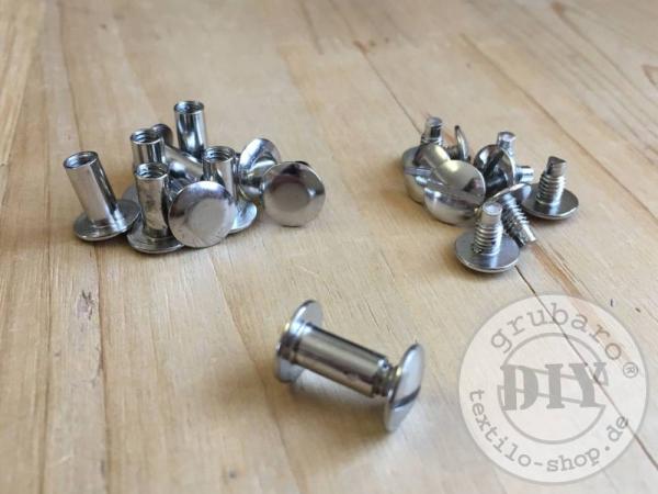 10 versilberte Buchschrauben 10 mm Schafthöhe
