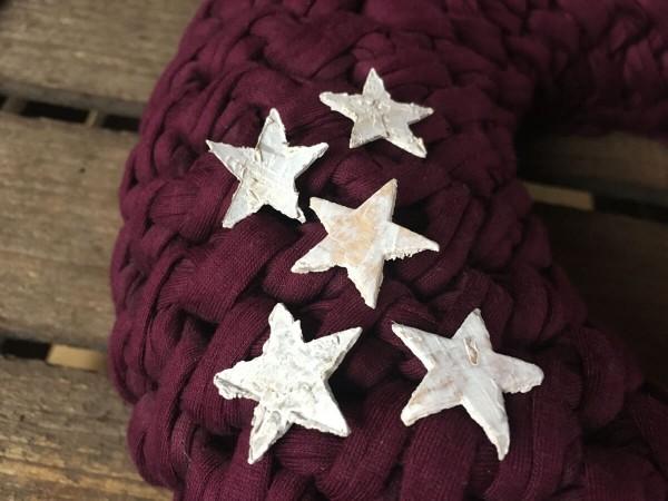 Tischdeko Streu Sterne aus Rindenholz weiss 2,5cm