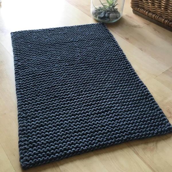 Badmatte 45 x 65 cm aus Strickschnur Anthrazit (4)