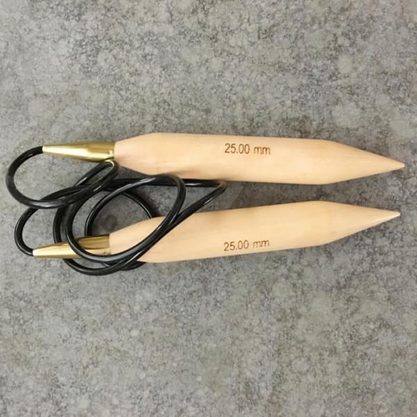 Rundstricknadel D=25mm aus Holz mit 120cm Seil