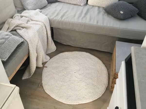 runder Häkelteppich aus Kordel Natur (4)