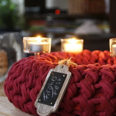 Adventskranz Detail Textilo Stripe Textilgarn