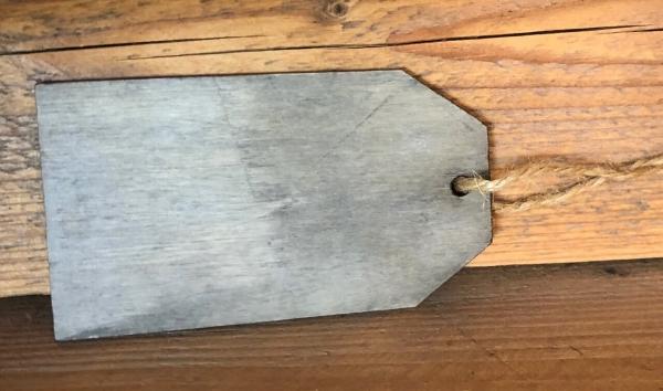 Label aus Holz Draufsicht