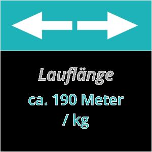 ca. 190 M Lauflänge pro 1 Kilogramm Kordel L