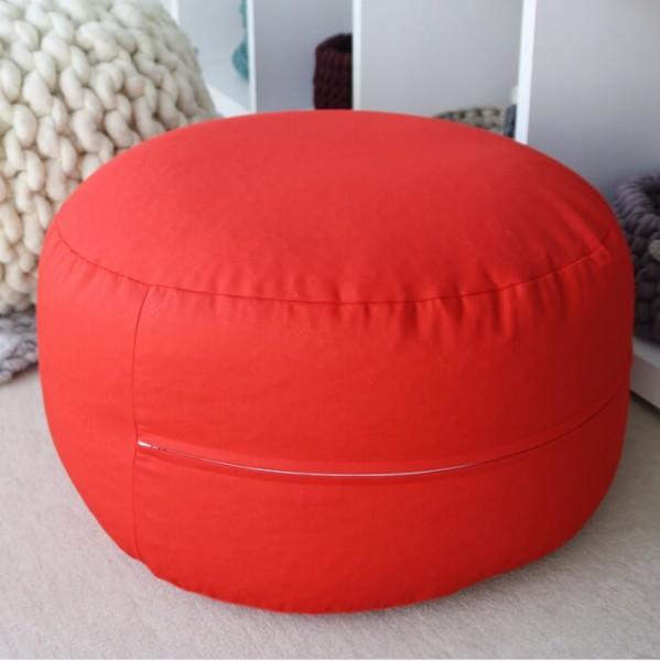 Sitzpouf rot Ø 45 cm Draufsicht