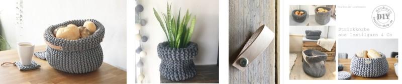 Strickkörbe aus Textilgarn & Co