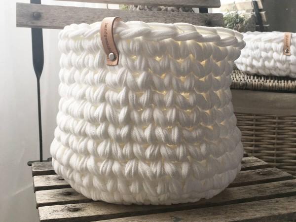 Korb aus Texstilo Stripe Wollweiß