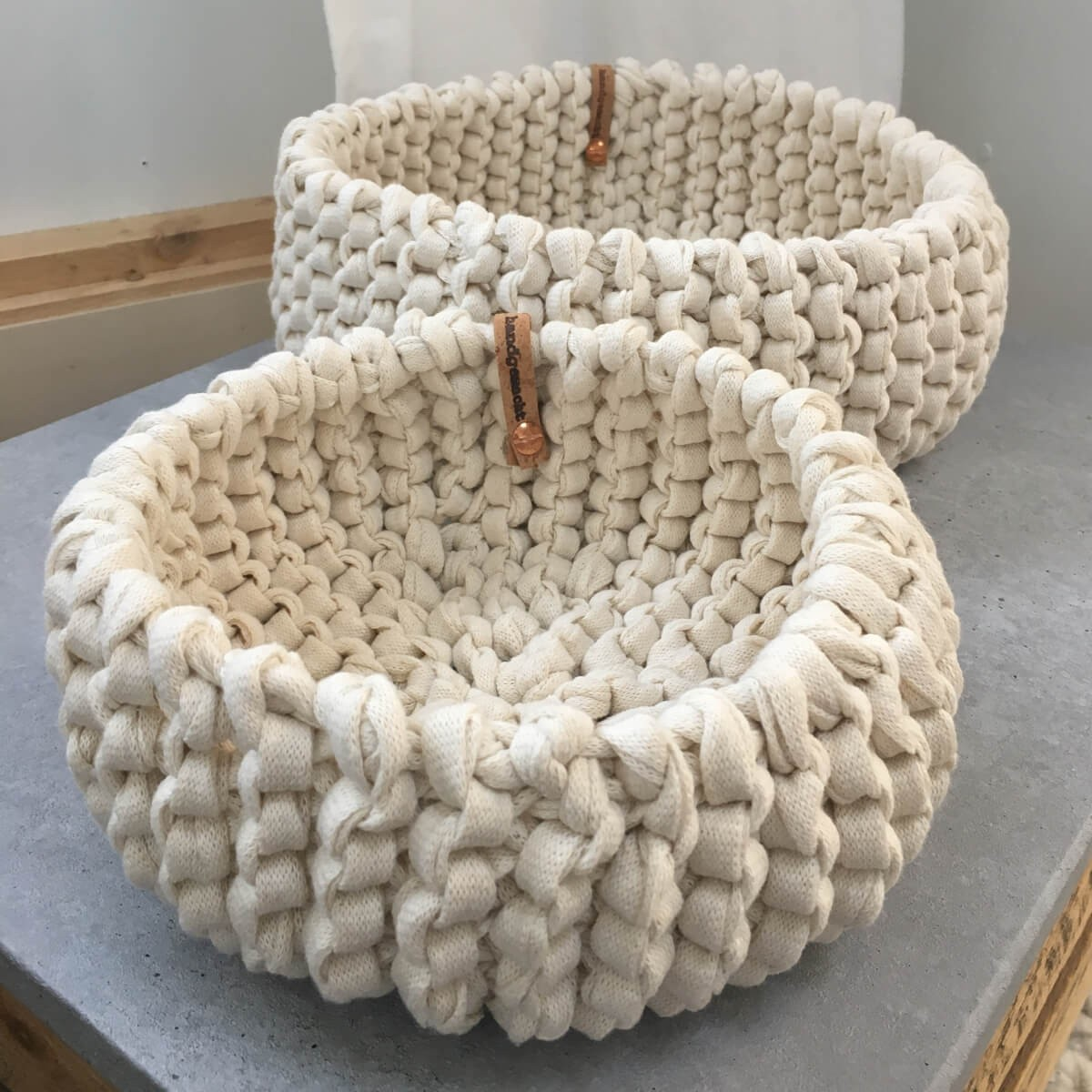 Strickkorb Set aus Strickband Natur