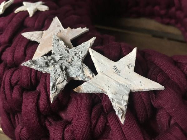 Tischdeko Sterne aus Rindenholz weiss 4cm