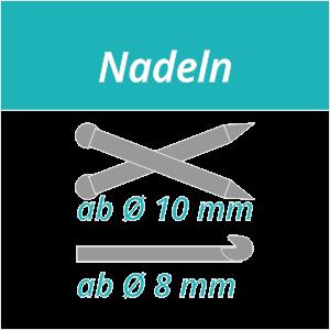 Nadeln stricken ab 10mm und häkeln ab 8 mm